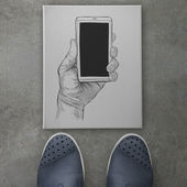 Hand drawn hands with mobile phone as concept — Stock Photo