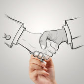 Hand drawn handshake sign as partnership business concept — Stock Photo