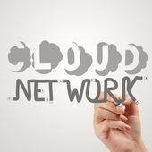 Hand drawing  Cloud network desogn word and diagram on the new c — Stock Photo