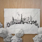 Crumpled paper with hand drawn traveling around the world on woo — Stock Photo