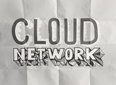Design word hand drawn CLOUD NETWORK on crumpled paper as concep — Stock Photo