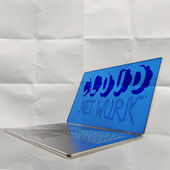 Hand drawn CLOUD NETWORK on 3d computer laptop on crumpled paper — Stock Photo
