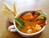 Delicious mediterranean seafood soup — Stock Photo