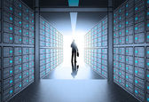Engeneer business man in 3d network server room as concept — Stock Photo