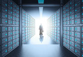 Engineer business man in 3d network server room as concept — Stock Photo