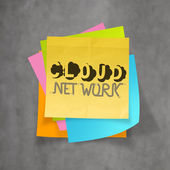 Hand drawn CLOUD NETWORK on sticky note and texture background a — Stock Photo