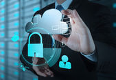 Businessman hand show 3d cloud icon with padlock as Internet sec — Stock Photo