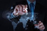 Geschäftsmann, arbeiten mit neuen modernen computer zeigen soziales netzwerk — Stockfoto
