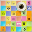 3d cup of coffee on hand drawn icons of business strategy on sti — Stock Photo