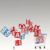 Uomo d'affari guardando 3d dello shopping cart in vendita cubico come concetto — Foto Stock