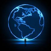 商人看着地球仪作为概念的抽象画 — 图库照片