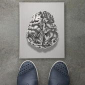3d metal human brain icon on front of business man feet as conce — Stock Photo