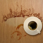 3d cup of coffee traveling around the world on wooden background — Stock Photo