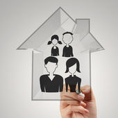 Hand draw family and house as insurance concept  — Stock Photo