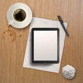 3d empty tablet and a cup of coffee on the wooden desk — Stock Photo