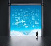 Affärsman i fabriken och ser att himlen som begrepp — 图库照片