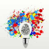 Creativity 3d metal human brain in visible light bulb with splas — Stock Photo