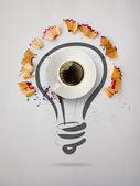 рисованные лампочку рука с карандашом увидел пыль и 3d чашка кофе — Стоковое фото