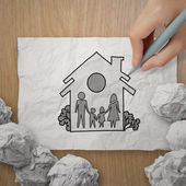 Hand draw family and house as insurance concept  — Photo