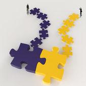 Partnerschaft-Puzzle Metall 3d und Geschäftsmann Symbole als Konzept — Stockfoto