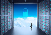 3d network server room and cloud outside as concept  — Stock Photo