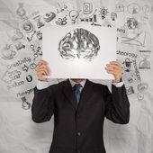 Businessman hand show book of 3d metal brain as concept  — Stock Photo