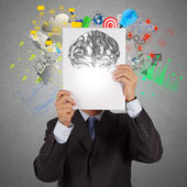 Businessman hand show book of 3d metal brain as concept  — Stock Photo