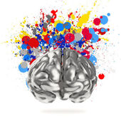 Creativity 3d metal human brain with splash colors background as — Stock Photo