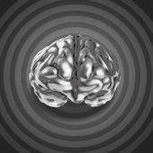 Metal brain 3d with retro graphic background as concept — Stock Photo