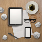3d empty tablet with mobile phone and a cup of coffee on the woo — Foto de Stock