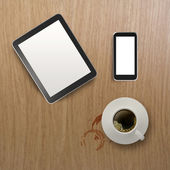 3d empty tablet with mobile phone and a cup of coffee on the woo — Zdjęcie stockowe