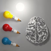 3d pencil lightbulb with metal brain as concept — Stock Photo