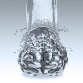 3d liquid metal splash on brain as concept — Stock Photo