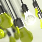 3-й металлический человеческий мозг в лампочке как творческое понятие — Стоковое фото