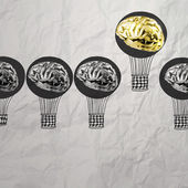 Hand drawn air balloons with 3d metal brain on crumpled paper as — Stock Photo