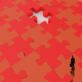 Businessman walking in Missing 3d puzzle piece as concept  — Stock Photo