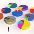 Businessman walking to 3d Pie chart, made of different colors as — Stock Photo #49355873