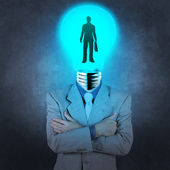 Businessman light bulb head choosing people icon as human resour — Stock Photo