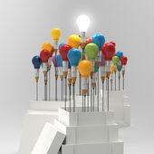 Ołówek żarówki 3d jak myśleć poza pole i przywództwo — Zdjęcie stockowe