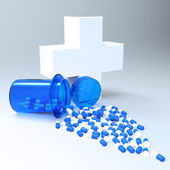 3d virtual medical symbol with capsule pills as concept — Stock Photo