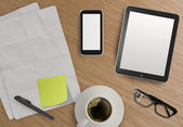 3d empty tablet and a cup of coffee with note pad on the wooden  — Stock Photo