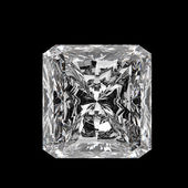 3d Square cut diamond on black background — Stock Photo