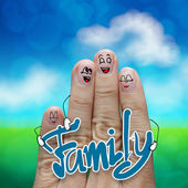 Finger family travels at the beach and family word as concept  — Stock Photo