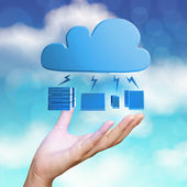 hand showing 3d Cloud Computing diagram icon on blue sky backgr — Stock Photo