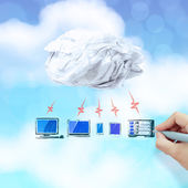 Businessman working with a Cloud Computing diagram on the new co — Stock Photo