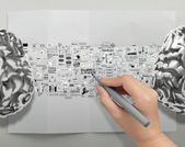 Hand drawing metal brains 3d with business strategy icons as bra — Stok fotoğraf