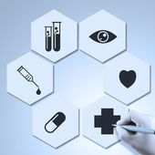 Medicine doctor hand drawing icons as medical concept — Fotografia Stock