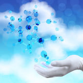 Scientist doctor hand holds virtual 3d  molecular structure in t — Stock Photo