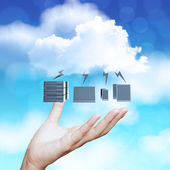 Hand showing 3d Cloud Computing diagram icon on blue sky backgro — Stock Photo