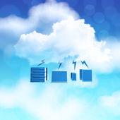 3d Cloud Computing diagram icon on blue sky background as concep — Stock Photo